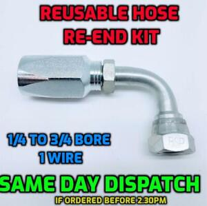 BSP 90° Elbow Hydraulic Reusable Hose Fitting/Insert Re-End Kit R1T 1SN 1 Wire