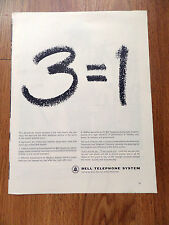 1962 Bell Telephone Ad  3=1 3 Units = 1 United Bell