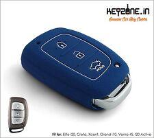 New! KeyZone Silicone Key Cover fit for Hyundai Creta Smart Key (Blue)