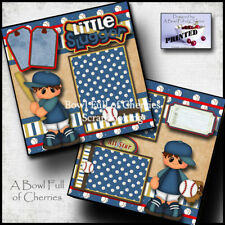 Baseball boy printed 2 premade scrapbook pages t-ball paper piecing by cherry
