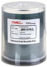 100-Pak CMC PRO (TY Technology) =WHITE INKJET (clear hub)= 52X 80-Minute CD-R's!