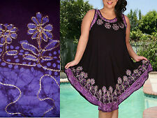 One Size Dress Cover-Up Purple Embroidery Floral Slvless Casual NWT  M,L, XL,1X
