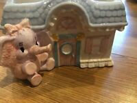 "Vintage Pink Elephant in front of home nursery planter - 7"" X 4"""