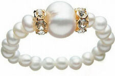 Fashion Real White Freshwater Pearl 18Kgp Crystal Stretchy Bangle Bracelet