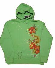 Polo Ralph Lauren Fleece Hoodie Floral Print Oriental  Neon Green Medium NWT