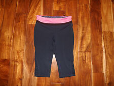 New Womens Tangerine Navy Blue Hot Pink Waist Active Exercise Shorts Capris S