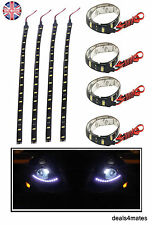 4X 12V 3W 5050 SMD 18 LED tira Flexible impermeable IP65 Luces Coche Hogar 30cm Reino Unido
