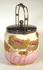 1880s Antique THOMAS FURNIVAL & SON Cookie BISCUIT JAR Flowers Leaves ENGLAND