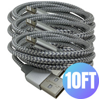 3 Pack iPhone Charger 10Ft Braided For iPhone 11 XR 8 7 iPad USB Charging Cable