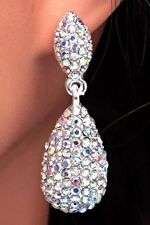 AB Crystal Rhinestone Dew Drop Dangle Pierced Bridal Wedding Party Earrings NEW