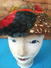 Vintage Feather Hat Pheasant Multi-Colored Brillant Stunning Excellent RARE