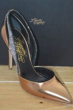 NIB ALEJANDRO INGELMO Womens FLAVIA C Bronze/Black Leather Heel Size 8.5 EUR38.5