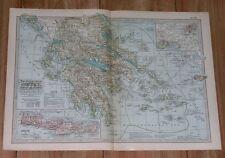 1911 ORIGINAL ANTIQUE MAP OF GREECE / ATHENS CRETE / AEGEAN SEA PELOPONNESE