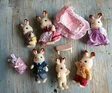 Vintage 1980s Epoch Sylvanian Families Crib Furniture Baby Animals Bunny Rabbits