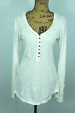 FREE PEOPLE Crochet Cuff Henley Tee Medium Off White Cotton Gypsy Hippie Style