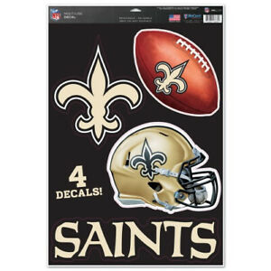 New Orleans Saints Set of 4 Decals Stickers Reusable Multi-Use
