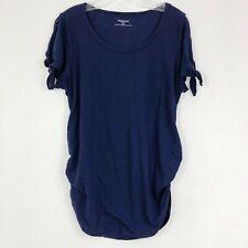 Motherhood Maternity Navy Blue Cold Shoulder Tie Sleeve Shirt Size Large