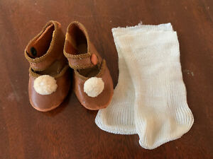 VINTAGE BROWN Kid Leather Shoes & SOCKS for BISQUE DOLL