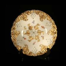 Antique Meissen Rococo serving bowl Gold gilt leaves Hand painted flowers