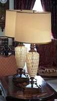"FENTON PAIR of LAMPS 40"" TALL Honeysuckle Coin Dot Monumental MADE in USA"