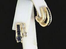$2,100 14K Yellow Gold Blue Sapphire Baguette Diamond Omega Back Huggie Earrings