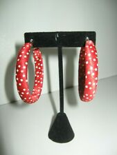 Red And White Polka Dot Fabric Wrap Round Stylish Mod Hoop Earrings