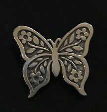 James Avery Retired Floral Mariposa Butterfly Solid Back Pin Sterling Silver