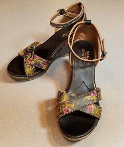 Spring Step Tribute Dress Sandal Black with Flower Design Size 37 US 6.5-7