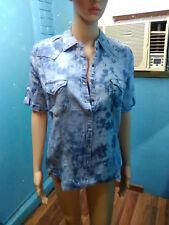 NWT / M.Michel / Women's Small / Short Sleeve FADED DENIM Snap Down Shirt