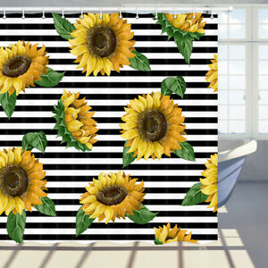 Sunflowers Black and White Stripes Shower Curtains for Bathroom Accessories
