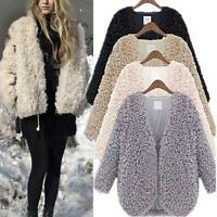 Fashion Women Fluffy Shaggy Faux Fur Coat Lady Warm Cardigan Jacket Outwear Tops