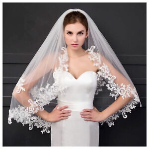 Soft 2 Tier Bridal Lace Edge veil white ivory  Wedding short Veil With Comb