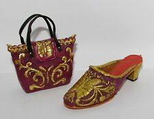 Jc Penney Vintage Red Gold Butterfly Slide Pump Shoe Handbag Purse Ornaments