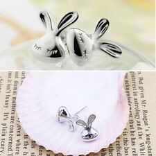 White Plated Beautiful Silver Appearance Kid Cute Rabbit Stud Earrings