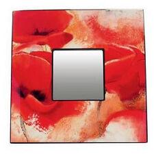 Cadre laqué décor coquelicot avec miroir