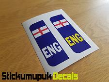 Pair of England Flag Car Number Plate Vinyl Stickers UK legal Peel & Stick