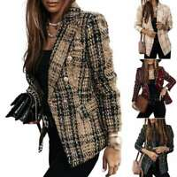 Jacket Outwear Check Plaid Long Sleeve Tweed Duster Tartan Womens Blazer Coat