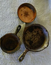 3 Cast Iron & Copper Miniature Frying Pans Child's Wagner Lasserre Great Smokeys