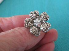 Diamond Daisy Flower Ring Sz 7 1/4 14K White Gold 1.25 Ct Champagne & White