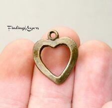 16 Heart Charms Hollow Pendants Antique Bronze 18 x 15 mm Us Seller 095