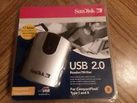 SANDISK USB 2.0 COMPACTFLASH I and II CARD READER/WRITER NEW