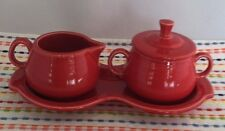 Fiestaware Scarlet Cream and Sugar 4 pc Set with Tray Fiesta Red Coffee Set