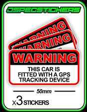 CAR GPS WARNING SECURITY TRACKING STICKER x3 50mm RED ANTITHEFT VINYL DECAL BNIP