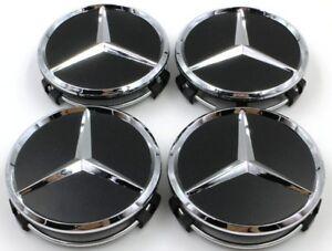 4X Mercedes Benz Center Caps Black Matte 3 Inch/75mm Fit Model C E CLS S (BM75)