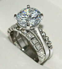Wedding Rings Set Size 7 & 3/4 Silver 5.31 Carat Fiery Simulated Moissanite 3
