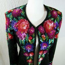 Silk Sequin Jacket Blazer Colorful Small S Hook Eye Vintage Della Roufugali