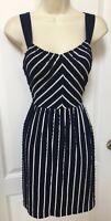 $79 Ann Taylor Loft Size 4P 4 Petite Womans Navy Blue White Striped Casual Dress