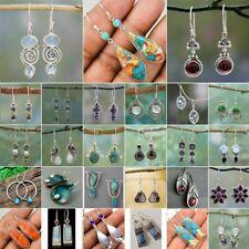 Retro Silver Turquoise Dangle Drop Stone Hook Ear Stud Earrings Women Jewelry
