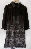KAREN MILLEN stunning black collared lace panel detailed dress Size UK/AU 12