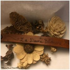 Handmade Outlander Inspired La Dame Blanche Pyrography Leather Cuff